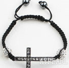 Wholesale Fashion Style Sideway/Side Way Black Rhinestone Cross Bracelet with Drawstring Adjustable Cord