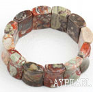 Big Style Concave Shape Picture Jasper Stretch Bangle Bracelet