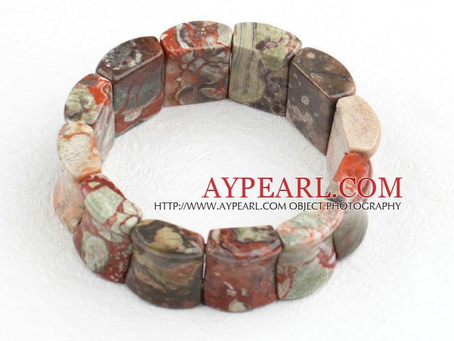 Big Style Concave Shape Picture Jasper Stretch Bangle Bracelet