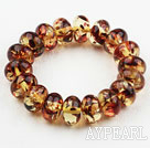 Wholesale Bold Style Abacus Shape Immitation Amber Elastic Bangle Bracelet