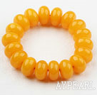 Bold Style Orangle Yellow Abacus Shape Immitation Beeswax Elastic Bangle Bracelet