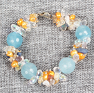 Wholesale green piebald stone bracelet with lobster clasp