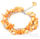 Wholesale 8-10mm dyed orange pearl bracelet with metal chain and lobster clasp