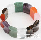Big Style Concave Shape Multi Color Multi Stone Stretch Bangle Bracelet