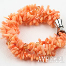 Wholesale Multi Strands Orange Coral Bracelet with Magnetic Clasp