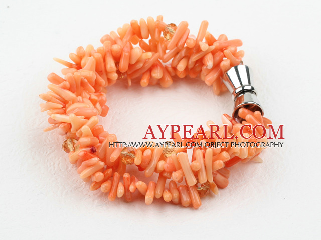 Multi Strands Orange Coral Bracelet with Magnetic Clasp