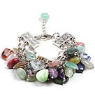 Fashion Multi Color Olika former Multi Gemstone Charm Bracelet