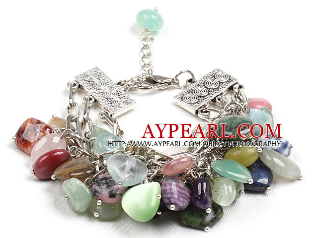Fashion Multi Color Different Shapes Multi Gemstone Charm Bracelet