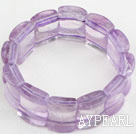 Wholesale Big Style Concave Shape Purple Jade Stretch Bangle Bracelet