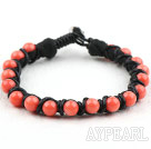 Fashion Style Leather and Round Pink Coral Bracelet with Metal Clasp