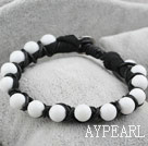 Wholesale Fashion Style Leather and White Porcelain Stone Bracelet with Metal Clasp
