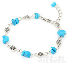 Wholesale simple blue turquoise bracelet with lobster clasp
