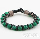 Wholesale Fashion Style Leather and Round Green Agate Bracelet with Metal Clasp