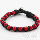 Fashion Style Leather and Round Red Coral Bracelet with Metal Clasp