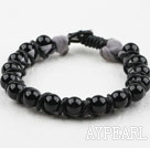 Wholesale Fashion Style Leather and Round Black Agate Bracelet with Metal Clasp