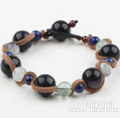 Fashion Style Lapis and Blue Sandstone and Rainbow Fluorite Bracelet
