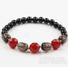 Smoky Quartz and Red Carnelian and Black Agate Stretch Bangle Bracelet