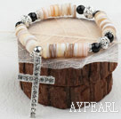 Wholesale Disc Shape Shell and Black Agate and White Rhinestone Ball and White Cross Dangle Stretch Bangle Bracelet