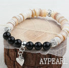 Disc Shape Shell and Black Agate and White Rhinestone Ball and Heart Accessory Stretch Bangle Bracelet