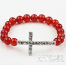 White Rhinestone Sideway/Side Way Cross and Round Red Carnelian Stretch Bangle Bracelet