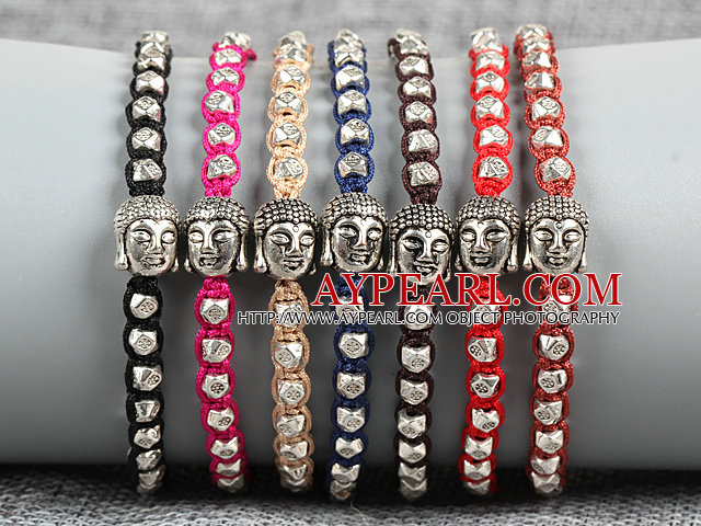 8 PCS Fashion Nickel Free Alloyed Buddha Head Charm Multi Color Thread Hand-Knitted Bracelet (Random Color)