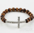 White Rhinestone Sideway/Side Way Cross and Round Tiger Eye Stretch Bangle Bracelet