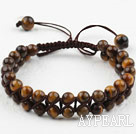 Wholesale Fashion Style Two Row Round Tiger Eye Woven Drawstring Bracelet