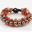 Wholesale Fashion Style Three Layer Agate and Brown Color Shell Beads Woven Bracelet