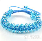Wholesale Fashion Style Two Row Sky Blue Crystal Drawstring Bracelet