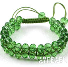 Fashion Style Two Row Grass Green Crystal Drawstring Bracelet