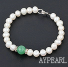 8-10mm white pearl and aventurine bracelet with lobster clasp