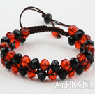 Fashion Style Two Row Black and Red Crystal Drawstring Bracelet