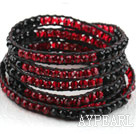 Long Style Black and Red Crystal Weaved Wrap Bangle Bracelet with Shell Clasp
