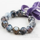 Wholesale 14mm Faceted Round Dragon Stripe Agate Beaded Bracelet
