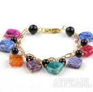Multi Color Rhombus Shape Dragon Stripe Agate Bracelet with Yellow Color Metal Chain