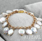 10-11mm White Coin Pearl Bracelet with Yellow Color Metal Chain