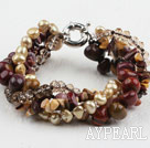 Wholesale Brown Series Multi Strand Freshwater Pearl Crystal and Yellow Opal Bracelet with Moonlight Clasp