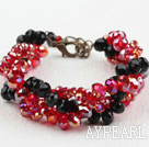 Assorted Black and Red Crystal Armband mit Karabinerverschluss