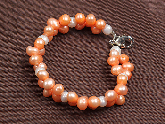 Summer Beach Jewelry 6-7Mm Natural White And Pink Pearl Bracelet