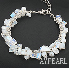 Wholesale moonstone bracelet with metal chain and lobster clasp