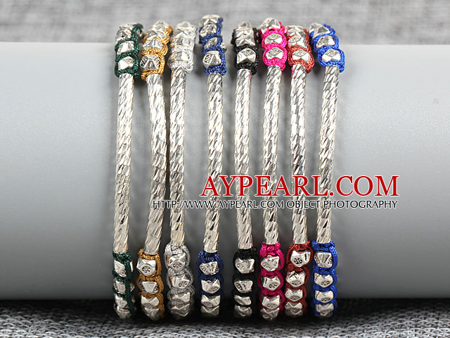 8 PCS Fashion Nickel Free Alloyed Tube Charm Multi Color Thread Hand-Knitted Bracelet (Random Color)