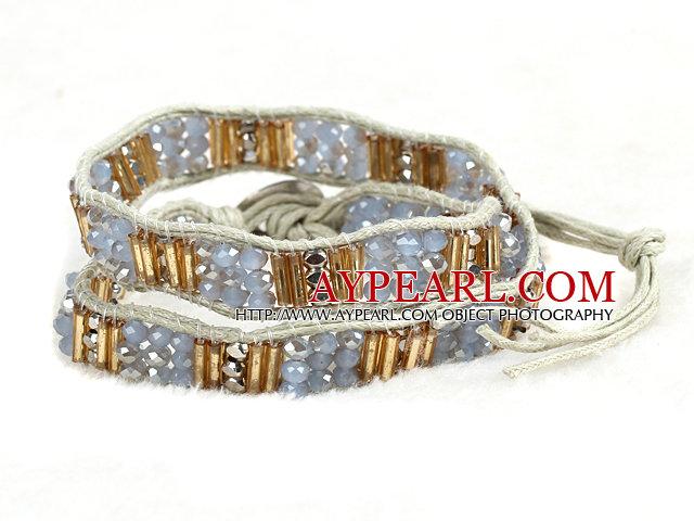 Fashion Style Gray Series Crystal Beads Wrap Bangle Bracelet