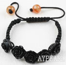 Fashion Style Black Rose Flower Imitation Turquoise Weaved Drawstring Bracelet with Adjustable Thread