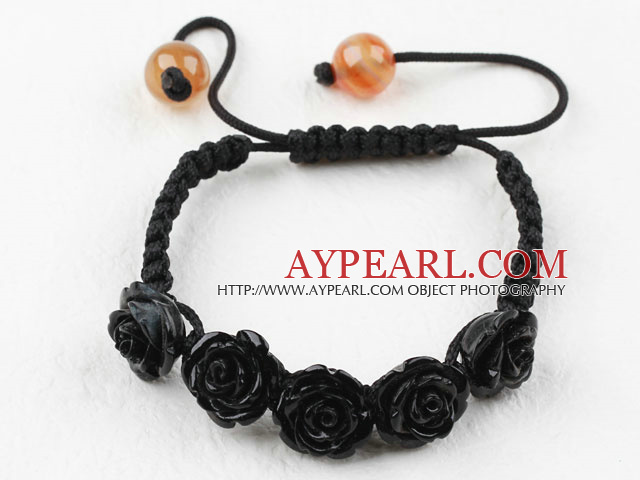 Fashion Style Black Rose Flower Imitation Turquoise Woven Drawstring Bracelet with Adjustable Thread