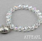 Wholesale Clear Manmade Crystal Elastic Bangle Bracelet with Heart Shape Metal Accessories