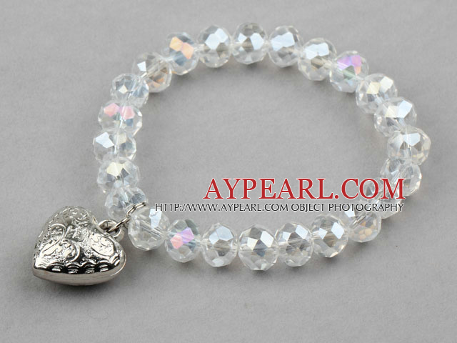 Clear Manmade Crystal Elastic Bangle Bracelet with Heart Shape Metal Accessories