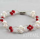 Wholesale Fashion Style White Freshwater Pearl and Red Crystal Bracelet with Magnetic Clasp