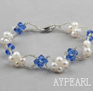 Wholesale Blue Series Fashion Style White Freshwater Pearl and Blue Crystal Bracelet