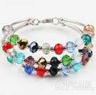 Wholesale Three Strands Multi Color Manmade Crystal Bangle Bracelet
