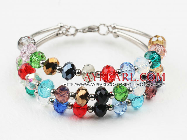 Three Strands Multi Color Manmade Crystal Bangle Bracelet